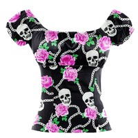 Punk Tunic Off The Shoulder Blouse for Women Skull Printed Shirt  Hip Hop