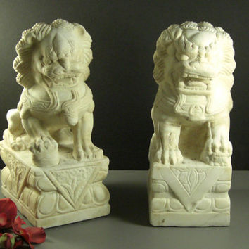 White Marble Foo Dogs // Hand Carved Pair // Temple Guardians, Garden Statues // from Successionary