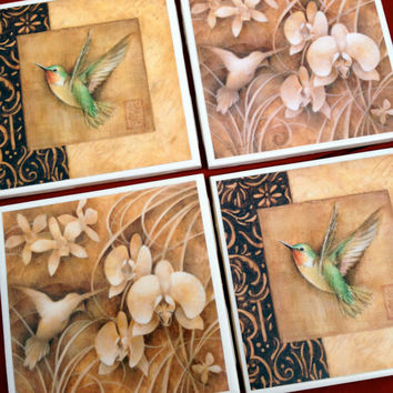 Hummingbird Coasters, Hummingbird Decor, Home Decor, Nature, Birds, Ceramic Coasters, decorative coasters, Patio Decor, Hummingbird Art