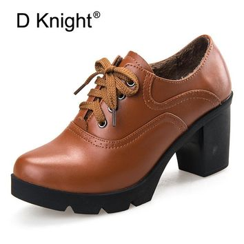 New Women Genuine Leather Thick High Heels School Shoes Vintage Lace Up Round Toe Oxford Shoes For Women Pumps Sapatos Femininos