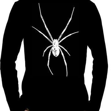 White Print Black Widow Spider Men's Long Sleeve T-Shirt Halloween Horror