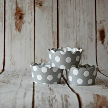 Gray Polka Dot Cupcake Decoration, Grey Chevron Cupcake Wrappers, Reversible Cake Wraps