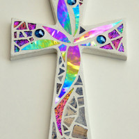 "Mosaic Wall Cross, Abstract Floral Design, White with Iridescent + Gray Stained Glass, Handmade Mosaic Design, 12"" x  8"""