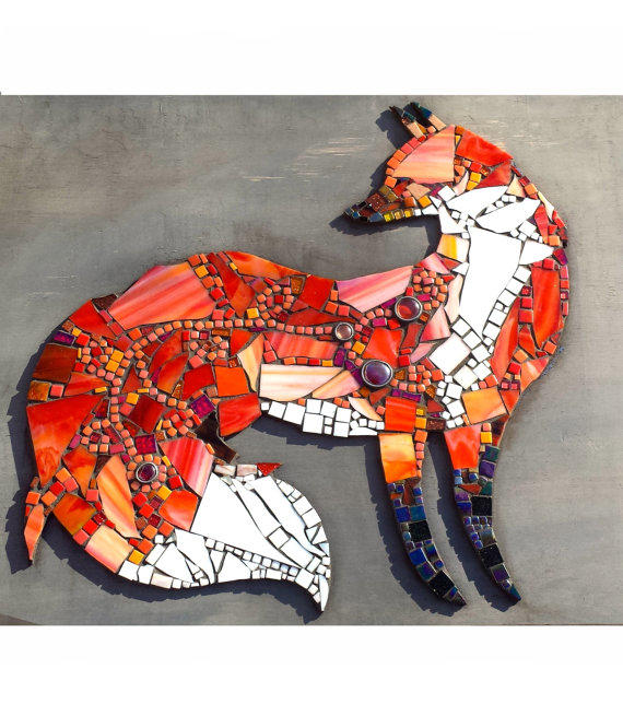 Mosaic Art Fox Wall Hanging Home Decor From Samahstudios On Etsy