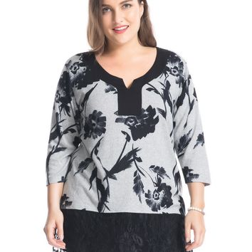 Chicwe Women's Plus Size Tunic Top Cashmere Touch with Lace Hem US14-26