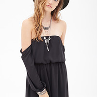 FOREVER 21 Chiffon Off-the-Shoulder Dress
