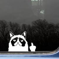 "Grumpy Cat Finger - 5 1/8"" x 3 3/4"" funny die cut vinyl decal / sticker for window, truck, car, laptop or ipad (NOT PRINTED)"