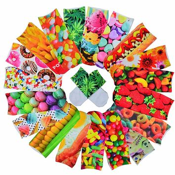 3D Cute Candy Foods&Flowers Printed Socks Multiple Colors Boys&Girls Socks Unisex Cotton Ankle Socks
