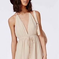 Missguided - Halterneck Drawstring Playsuit Beige