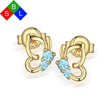 BSL Online Store Real 925 Sterling Silver Fine Jewelry Blue Gemstone Natural Sapphire Earrings Studs Butterfly Shape 2017 New