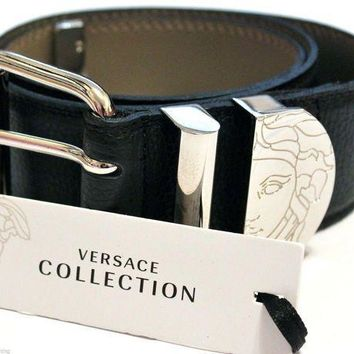 MDIG1O VERSACE COLLECTION Ladies Black Grained Leather Belt Made In Italy BNIB Size 70.