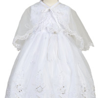 Floral Embroidered White Organza Baptism or Communion Dress & Cape (Infants, Toddler or Girls sizes)