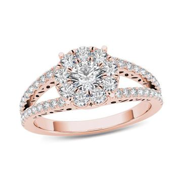 1 CT. T.W. DIAMOND FRAME SPLIT SHANK ENGAGEMENT RING IN 14K ROSE GOLD