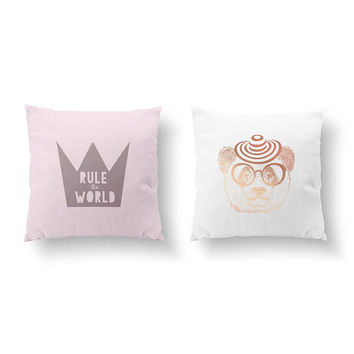 SET of 2 Pillows, Teen Room Decor, Throw Pillow, Cushion Cover, Children Art, Panda Glasses Pillow, Bed Pillow, Rule The World, Gold Pillow