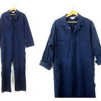 Blue WALLS Coveralls Vintage Jumpsuit Mechanic Suit Pants Dark Baggy Blue Bibs Jumper Jumpsuit Mens size 40 x 31
