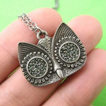Classic Owl Animal Pendant Necklace in Silver with Rhinestones on SALE