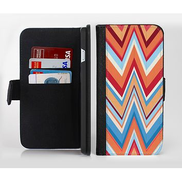 The Coral & Red Chevron Zig Zag Pattern V43 Ink-Fuzed Leather Folding Wallet Credit-Card Case for the Apple iPhone 6/6s, 6/6s Plus, 5/5s and 5c
