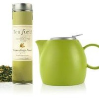 Green Pugg Ceramic Teapot with Green Mango Peach Loose Tea, Tea Forte - Barnes & Noble