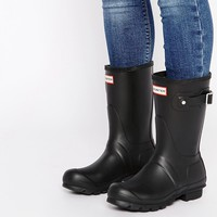 Hunter Original Short Black Ankle Boots