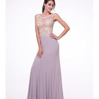 Mauve & Champagne Sheer Lace Bodice Dress 2015 Prom Dresses