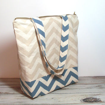 Blue Natural Tote - Zipper Tote Bag - Cream Tote Bag - Weekender Tote Bag - Customize Tote Bag - Canvas Zipper Tote - Tote with Zipper - Bag