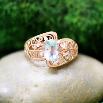 Aquamarine and Diamond Vintage Inspired Ring, 14k Solid Rose Gold (Free Shipping)
