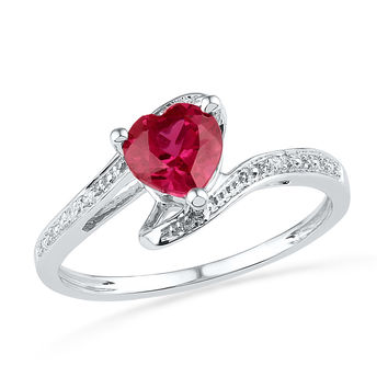 10kt White Gold Womens Heart Lab-Created Ruby Diamond-accent Bypass Ring .01 Cttw 101254