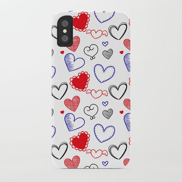Draw hearts iPhone Case by vanessavolk