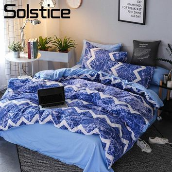 Solstice Home Textile Stripe Blue Ocean Waves Kid Teenage Boy Bedding Set King Queen Duvet Cover Pillowcase Bed Sheet Girl Linen