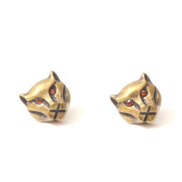 Tiger Stud Earrings Crystal Vintage Gold Tone Lion Cat EE31 Retro Roar Pave Posts Fashion Jewelry