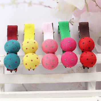New Women Girls Dot Hair Accessories Candy Color Double Ball Hairpins Cute Baby Kids Hair Clip Ribbon Dot Barrettes