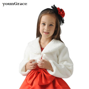 New 2016 Girls Long Sleeve Winter Wedding Faux Fur Bolero Brand Design Baby Girls Formal Soft Party Coat Kids Wedding Cape C265