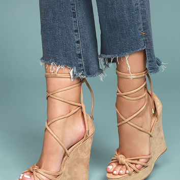 Macy Nude Suede Lace-Up Wedges