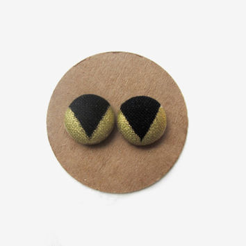 Black Gold Colorblock Earrings // Black // Gold // Color Block // Fabric Button // Fall Studs // Metallic // Tribal // Ethnic // Arrows //