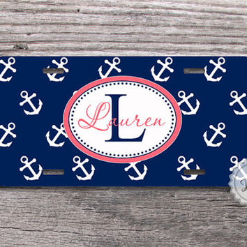 Navy blue anchor license plate personalized monogram aluminium car tag custom colors - 023