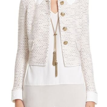 St. John Collection Faux Collar Caillou Tweed Jacket | Nordstrom