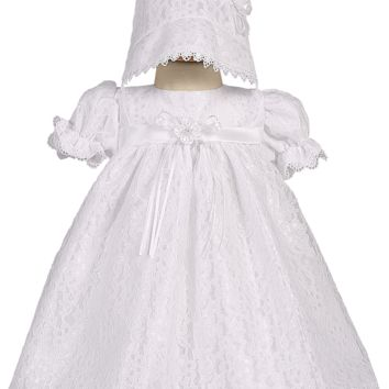 Floral Tulle Lace Baptism Dress w. Empire Waist 0-18M