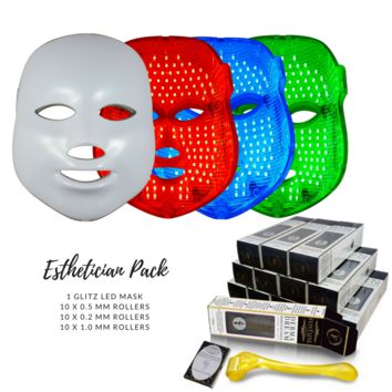 Best Sellers Set - Glitz LED Therapy Anti Aging Mask + 25 DermaDream Rollers - Esthetician Pack