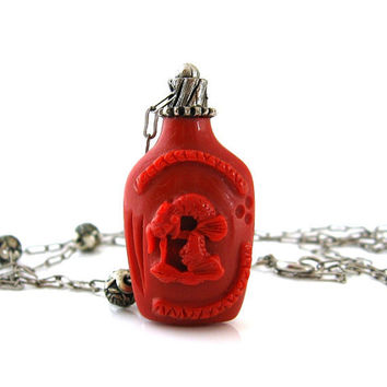 HATTIE CARNEGIE Snuff Bottle Necklace - Red Molded Plastic Faux Cinnabar Chinese Oriental Figural Pendant - 1960s Vintage Jewelry