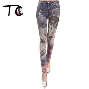 TC Skinny Jeans For Women 2017 High Waist Jeans Rhinestone Diamond Print Pencil Jeans Female Denim Pants Trousers 26-32 FT00472