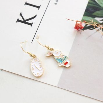 Girls White Clock Alice in Wonderland Hook Earrings Brincos Women Enamel Blue Mr Rabbit Drop Earrings For Party Dating Wedding