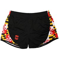 Maryland Flag Sides (Black) / Running Shorts (Women)