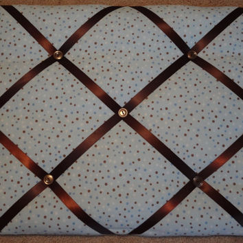 10% OFF Memo/ Picture Board Blue Brown Polka Dots Boy French Ribbon Memo Board