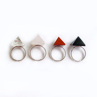 Pyramid Quartz Ring, Black Pyramid Agate Ring, Jasper Pyramid Ring - Modern Tribal Lapidary Handmade Ring