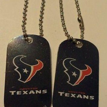 2 NFL Houston Texans Logo Dog Tags Key chains backpacks party Gift
