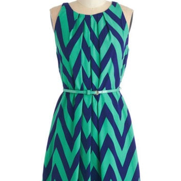 ModCloth Mid-length Sleeveless A-line Great Wavelengths Dress in Jade