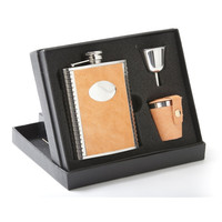 Meridian Orange Lizard 6oz Deluxe Flask Gift Set