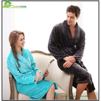 1PCS/Lot flannel bathrobes coral fleece robe men's long-sleeve bathrobes thickening plus size home casual sleepwear