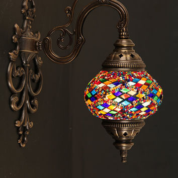 Turkish Handmade Mosaic Wall Lamp Medium Size Wall Sconce