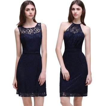 MisShow New Cheap Navy Blue Short Bridesmaid Dresses 2017 O Neck Backless Lace Wedding Party Gowns Robe Demoiselle D'honneur